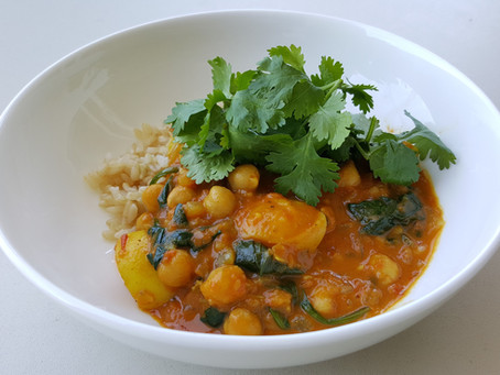 Chickpea, Potato and Spinach Curry