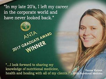 ANTA Award Winning Nutritionist Hanna Watson Clinical Nutrition Mosman Sydney