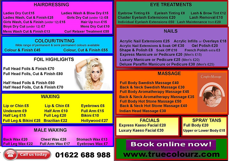 Hair, Beauty & Nails Price List True Colourz Hair Beauty Nails Maidstone