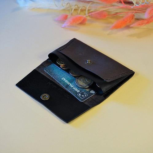 Porte-Monnaie en cuir / marron & noir