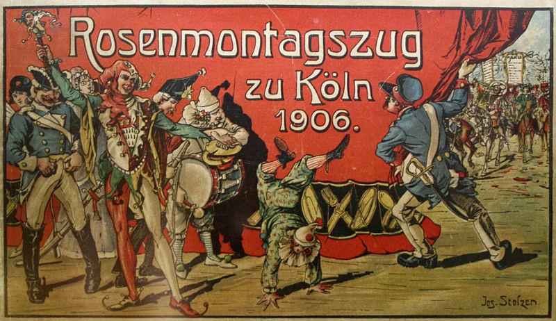 altes Plakat Rosenmontagszug zu Köln 1906