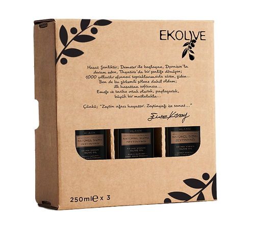 Erken Hasat Soğuk Sıkım Natürel Sızma Zeytinyağı 250ml Üçlü Paket