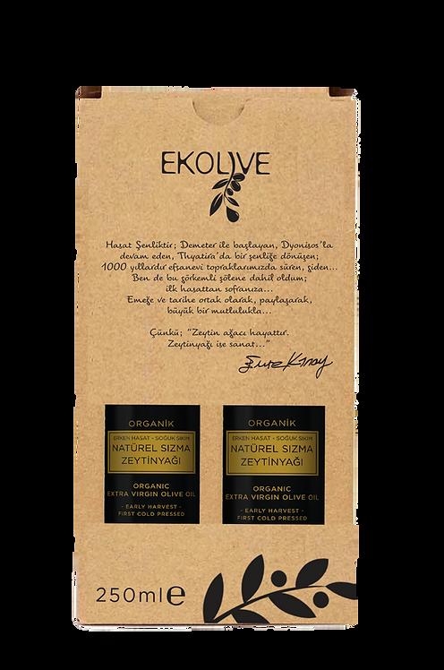 Erken Hasat Soğuk Sıkım Organik Natürel Sızma Zeytinyağı 250ml İkili Paket