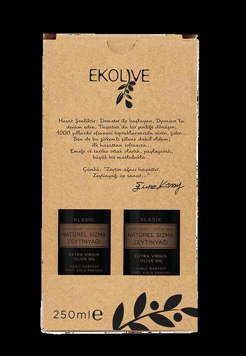 Erken Hasat Soğuk Sıkım Natürel Sızma Zeytinyağı 250ml İkili Paket