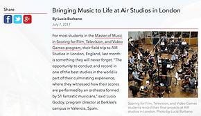 Berkee News on AIR Studios Reocrdng Session