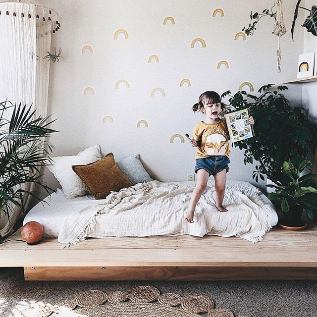 Our rainbow decals in action!! Absolutely obsessed (and maybe even a little jealous) of sweet Lola's boho chic rainbow room! 🌈 •_•_These rai
