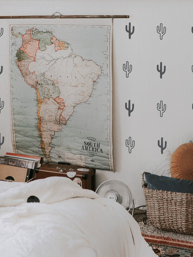 room with map boho cactus hollow and sol