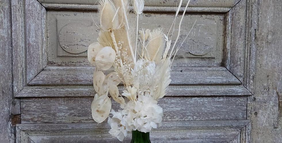Composition de fleurs séchée blanche & vase