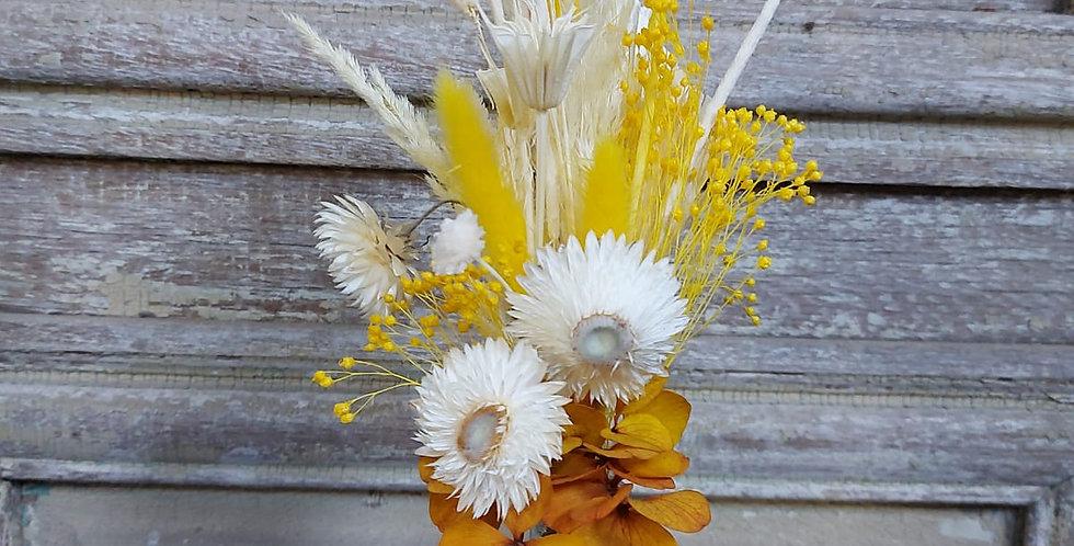Composition de fleurs séchée jaune & vase