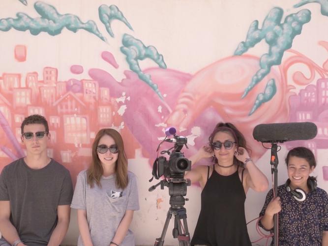 JFW 2017 posing in front of beautiful Israeli murals