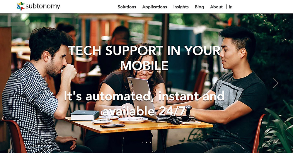 Screenshot of Subtonomy main page.