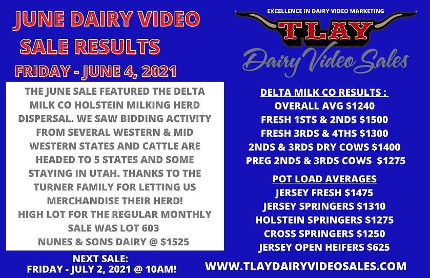 JUNE DAIRY VIDEO SALE RESULTS FRIDAY - J
