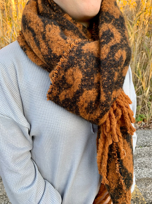Cheetah Scarf with Fringe