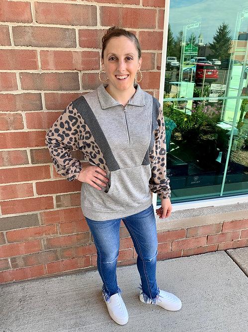 Leopard Half Zip