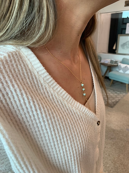 Teal and Brass Drop Necklace