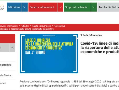 Regione Lombardia: integrate e modificate le linee guida aperture delle attività dal 1° giugno.