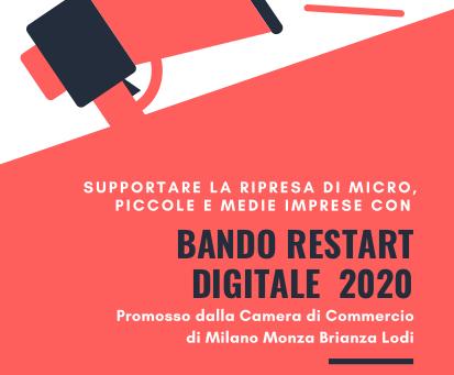 Restart Digitale 2020 - BANDO CAMERA DI COMMERCIO - Domande sino al 30 giugno 2020