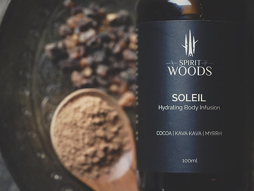 Soleil aromatic body treatment serum with kava kava, cocoa + myrrh