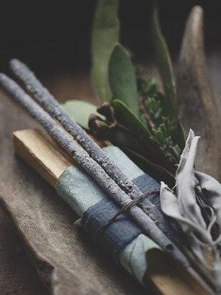 Van Diemens Smudge Bundle | Palo Santo, hand rolled Copal incense, organic Australian White Sage + Tasmanian botanicals