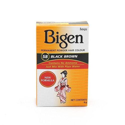 Bigen PERMANENT POWDER HAIR COLOUR 58 Black Brown