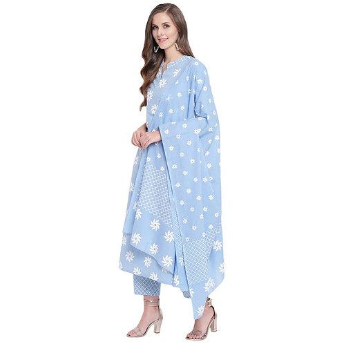 Women's Kurta Suit - Cotton Floral Print - ST
