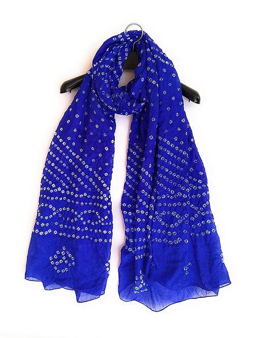Women's Dupatta - Tapeta Silk, Rajasthani Tie-Dye - CE