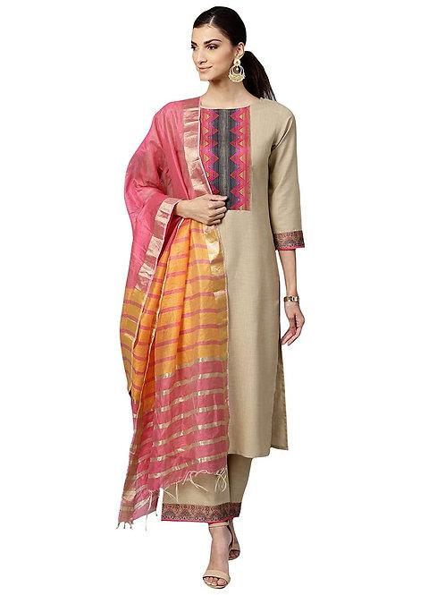 Women's Kurta Set - Pure Cotton Suit - IE