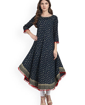 Women's Kurta Cotton Anarkali Blue - AM