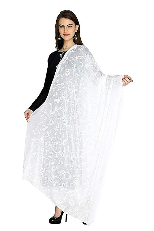 Women's Dupatta - White Chiffon, Aari Work - KU