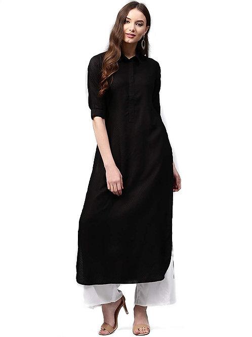 Women's Kurta - Classic Rayon Black - AS