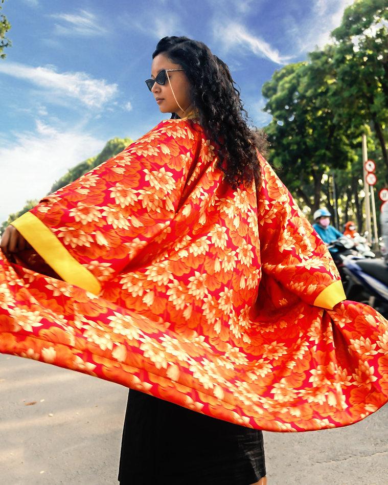 red yellow lotus kimono robe