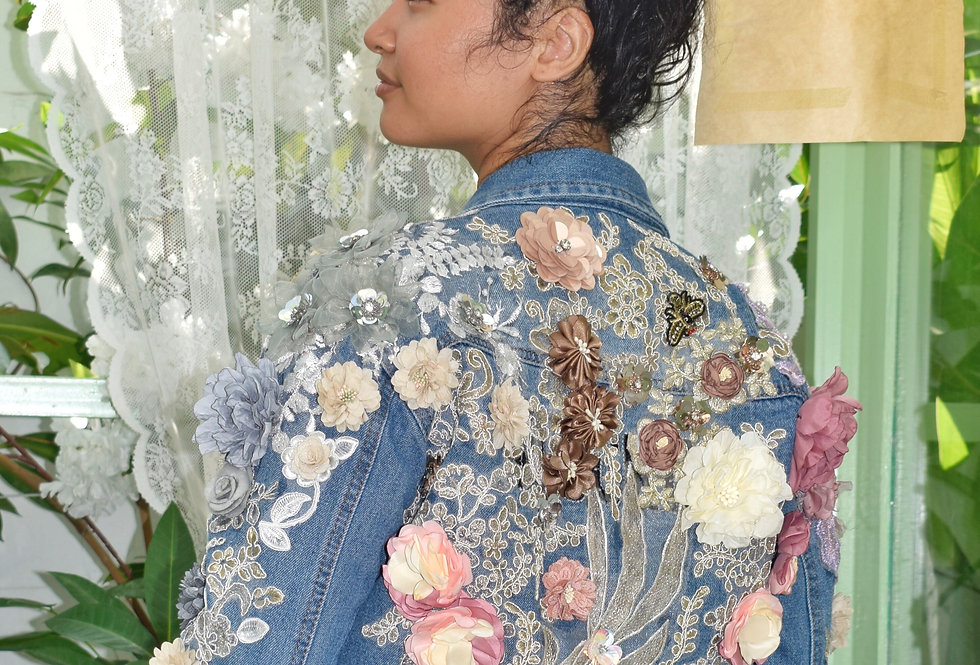 For the Love of Flowers Denim Jacket