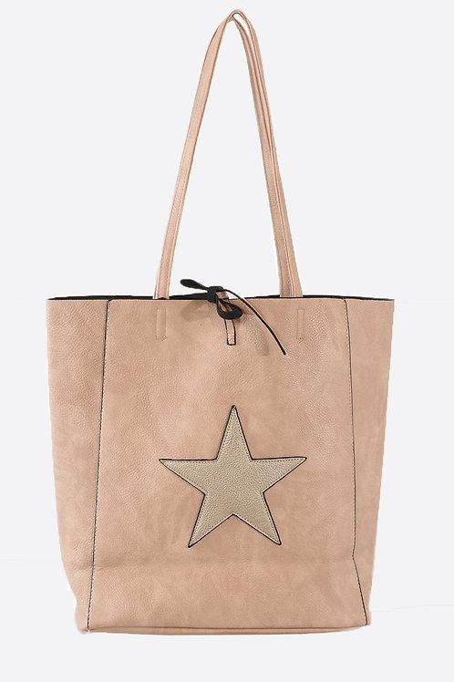 Dusky Pink Gold Star Shopper Bag