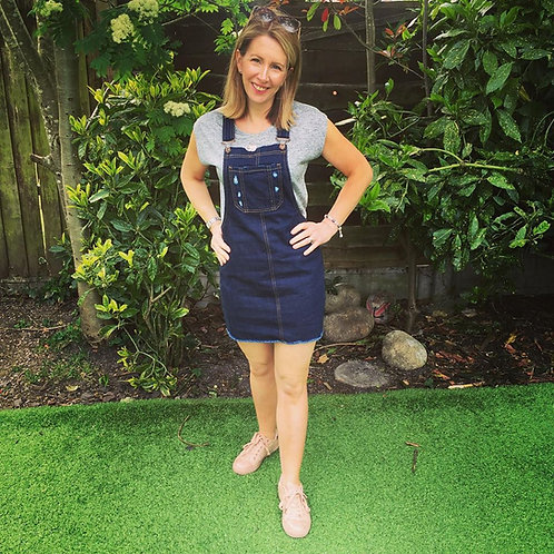 Distressed Denim Dungaree Dress