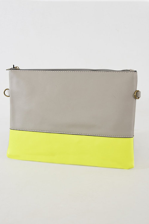 Grey and Neon Colour Block Clutch Bag