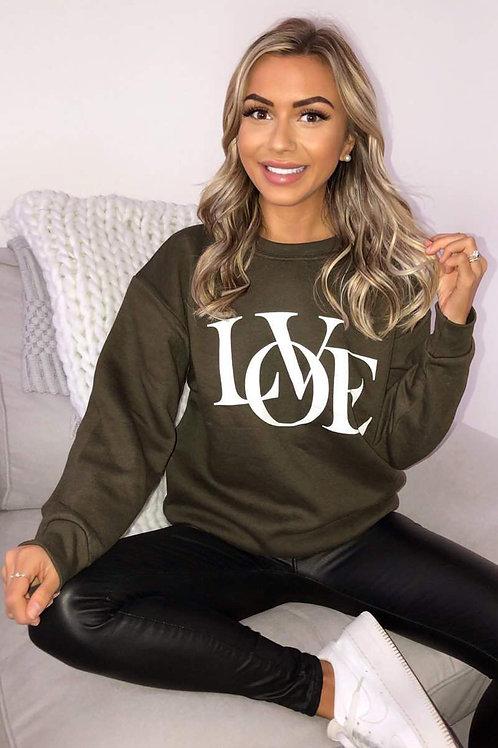 AX Paris Khaki Love Sweatshirt