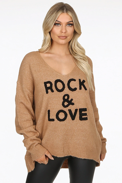 Taupe Rock and Love Jumper