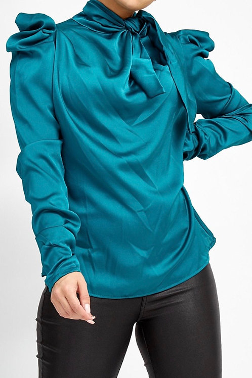 Teal Pussy Bow Blouse with Accentuated Shouldersl