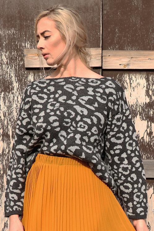 Dark Grey Leopard Print Jumper