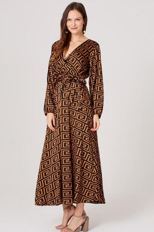 Greek Key Print Plunge Maxi Dress