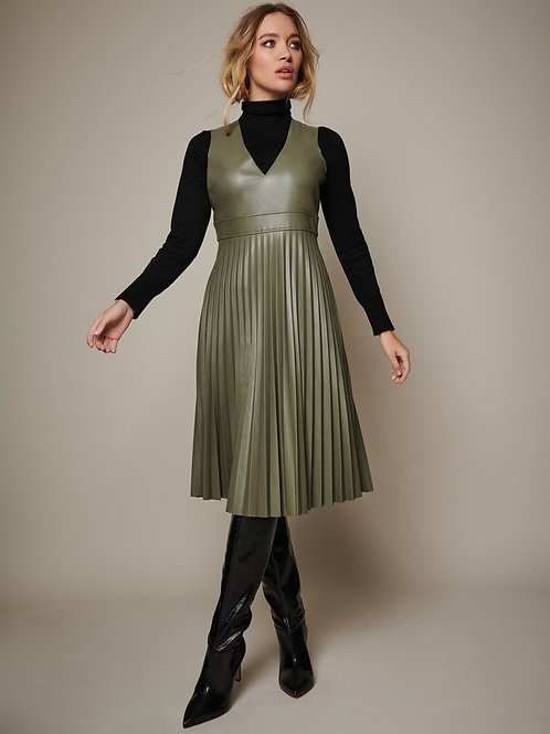 Sonder Studio Olive PU Pleated Dress