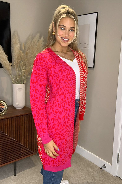 Girl in Mind Red/Pink Long Cardi