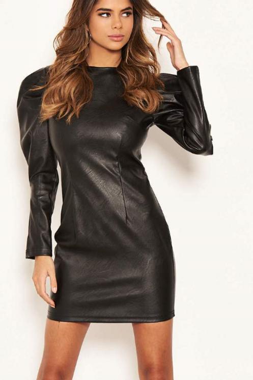 AX Black Faux Leather Bodycon Mini Dress