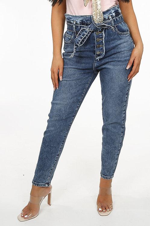 Toxic Acid Wash Paperbag Jeans
