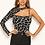 Thumbnail: AX Paris Black Print One Shoulder Cut Out Bodysuit