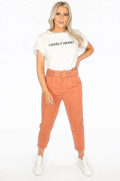 Belted Ankle Grazer Trousers