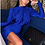 Thumbnail: AX Paris Cobalt High Neck Long Sleeve Ruched Dress