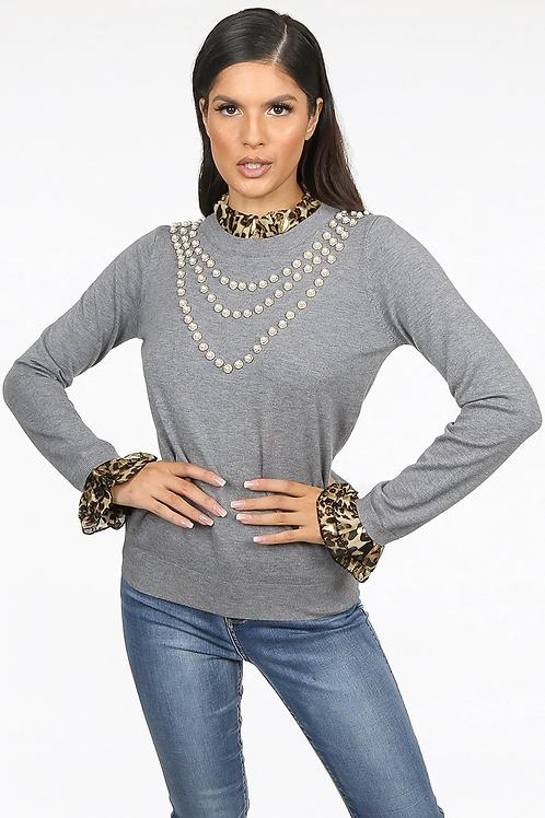 Pearl Trim Leopard Collar Knit