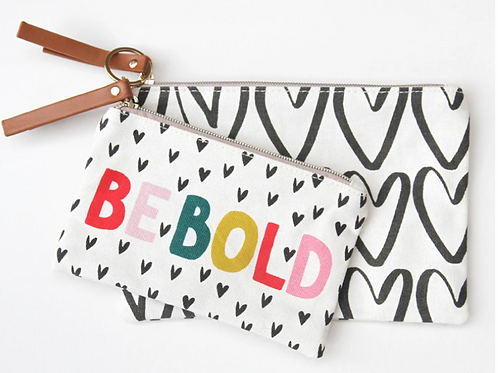 Caroline Gardner Be Bold Canvas Pouch Duo