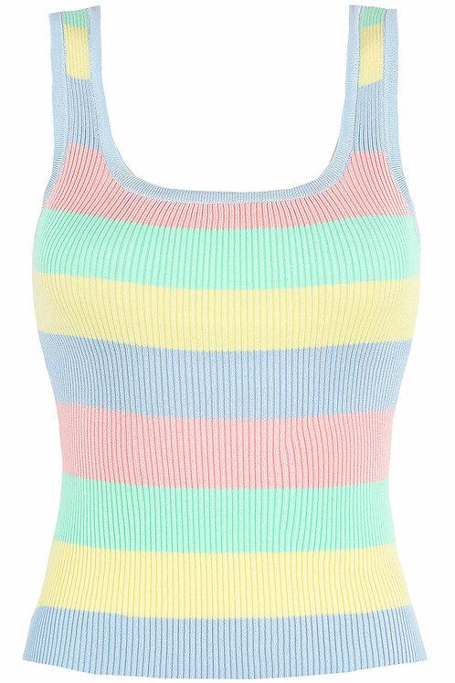 Rainbow Crop Knitted Vest Top